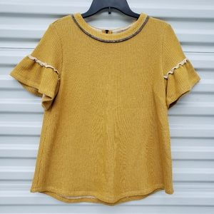 Adorable THML mustard yellow shirt with ruffles